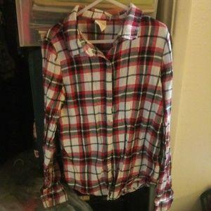 Faded glory plaid flannel shirt girls L (10-12)